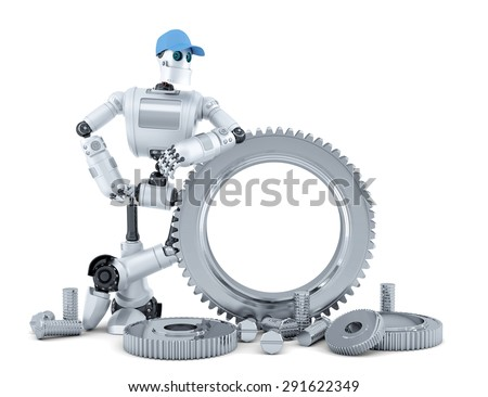 Engineer robot. Technology concept. Isolated over white. Contains clipping path - stock photo