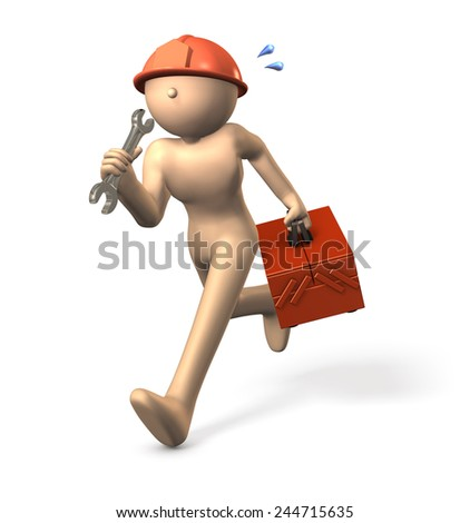 Engineer, running having a tool box. - stock photo