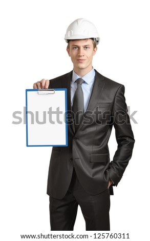 Engineer shows a clipboard with a blank sheet of paper. isolated on white
