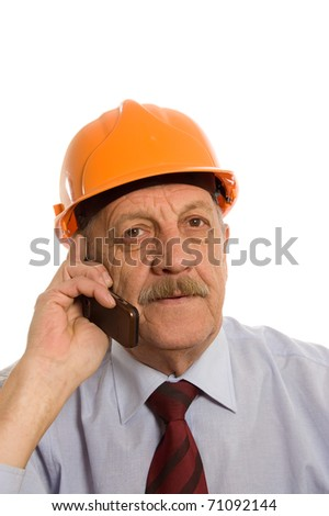 Engineer speaks by phone isolated on white - stock photo