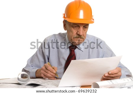 Engineer studies the project isolated on white - stock photo