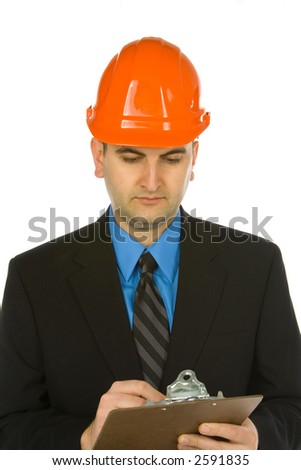 engineer taking notes isolated on a white background - stock photo