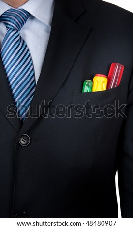 engineer with a screwdriver in your pocket - stock photo