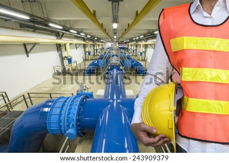 Engineer with Backwash water Pipeline in Water Treatment Plant