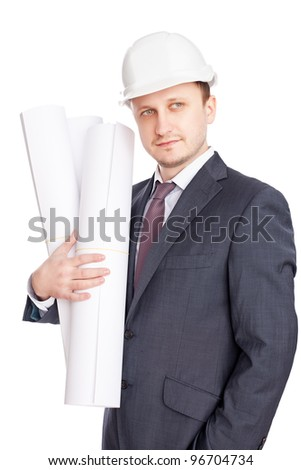 Engineer with blueprints isolated on white background