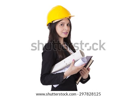engineer with construction plans