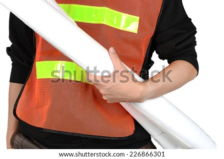 engineer with construction plans isolated on white background - stock photo