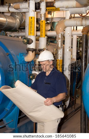 Engineer with hardhat in power plant