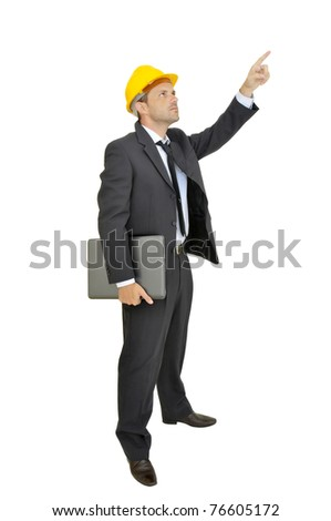 Engineer with hat and laptop isolated in white - stock photo