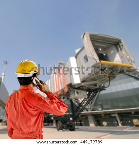 engineer with helmet for workers security on background of architecture detail of Bangkok Airport in Thailand