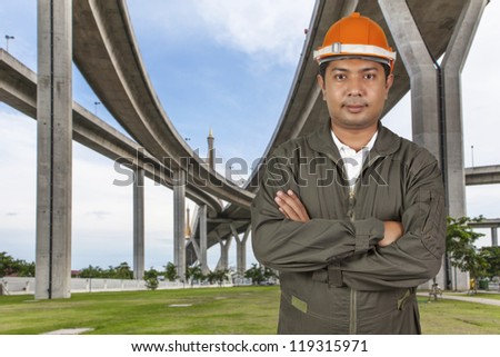Engineer with the highway background - stock photo