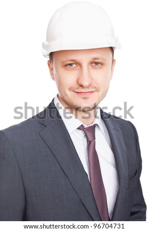 Engineer with white hard hat standing confidently isolated on white background - stock photo