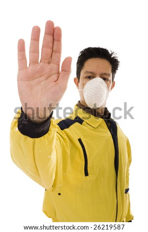 Engineer with yellow workwear and mask doing the stop gesture (focus on the hand) - stock photo