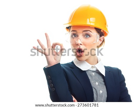Engineer woman gesturing sign good or excellent, isolated on white background.Close-up of female contractor or entrepreneur, studio-shott - stock photo