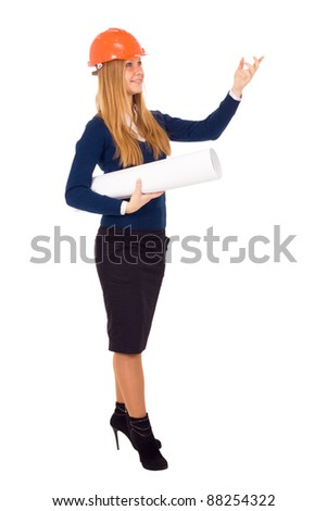 Engineer woman in an orange helmet is isolated on a white background - stock photo