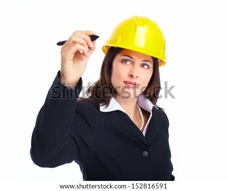 Engineer woman writing on white background. Construction.