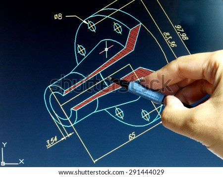 engineer working on cad blue print       - stock photo