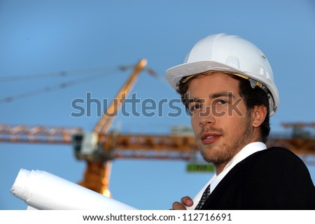 Engineer working on-site - stock photo