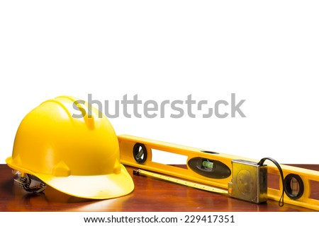 engineer working table and measure tape and level water tool equipment isolated on white background with clipping path - stock photo