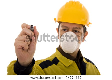 Engineer writing something with a pen isolated on white (focus on the hand) - stock photo