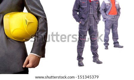 engineer yellow helmet for workers security against the background of two business ready to work in the new clean uniforms Isolated on white background  - stock photo