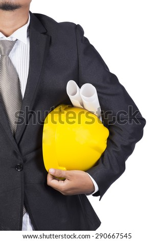 engineer yellow helmet for workers security white background - stock photo