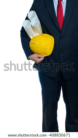 engineer yellow helmet for workers security with construction plans isolated on white background - stock photo