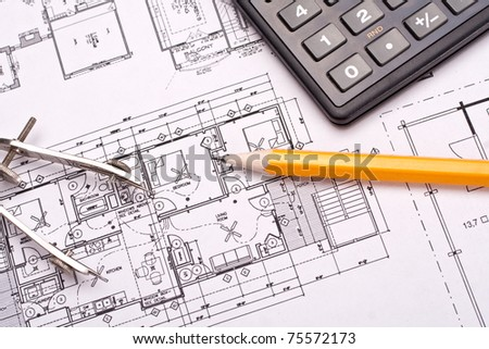 engineering and architecture drawings with pencil - stock photo