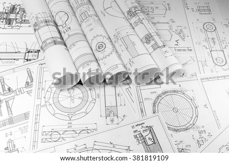 Engineering and technology. The work of the engineer. Technical drawing, machine parts. Metalworking, engineering and technology. - stock photo