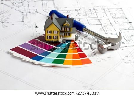 Engineering, Blueprint, Organization. - stock photo