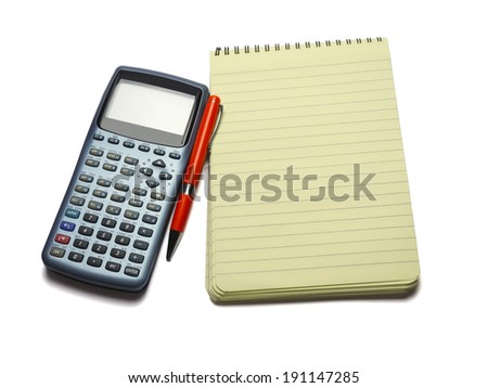 Engineering calculatorr, pen and notebook - stock photo
