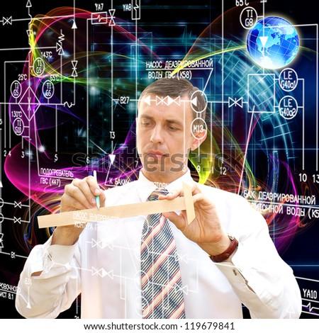 Engineering computers designing - stock photo