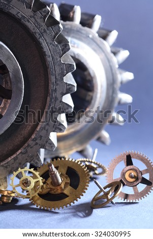 Engineering concept. Set of various gears on gray background