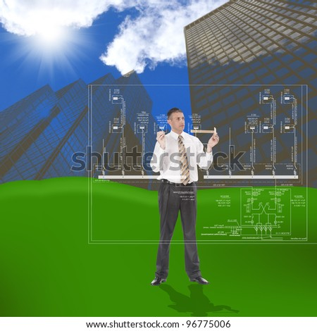 Engineering construction designing over greenfield - stock photo