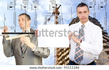 Engineering construction designing.Teamwork - stock photo