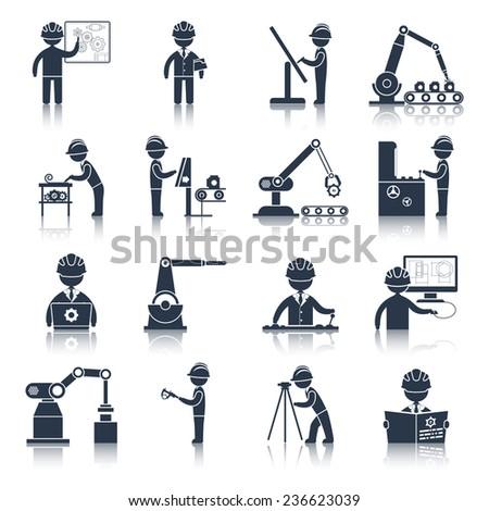 Engineering construction process factory production black icons set isolated  illustration - stock photo