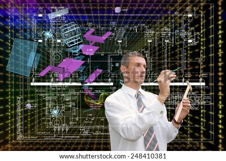 Engineering cosmic technologies.Connection - stock photo