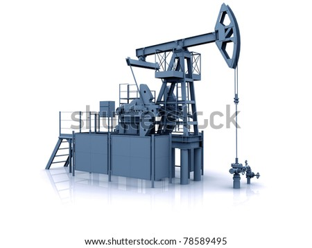 Engineering 3D model of oil production equipment (oil pump-jack) - stock photo