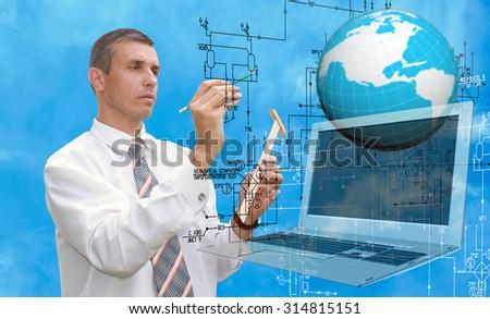 Engineering designing.Engineer - stock photo