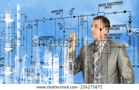 Engineering designing.Industrial technology - stock photo