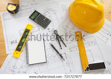 Engineering diagram blueprint paper drafting project stock photo engineering diagram blueprint paper drafting project sketch architectural industrial drawing detail and several drawing tools malvernweather Image collections