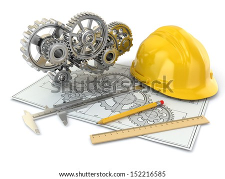 Engineering drawing. Gear, hardhat, pencil and draft. 3d - stock photo