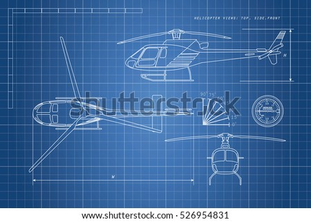Helicopter drawing stock images royalty free images vectors engineering drawing helicopter on a blue background three views top side front malvernweather Choice Image