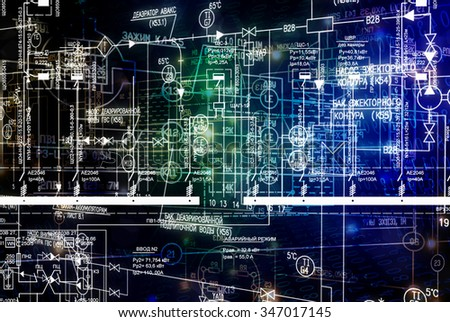 Engineering electrical industrial scheme.designing technology - stock photo