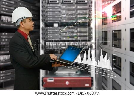Engineering in data center room - stock photo