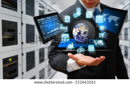 Engineering in data center room : Elements of this image furnished by NASA - stock photo