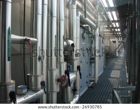 Engineering infrastructure of a modern public building. Systems of ventilation and air-conditioning - stock photo
