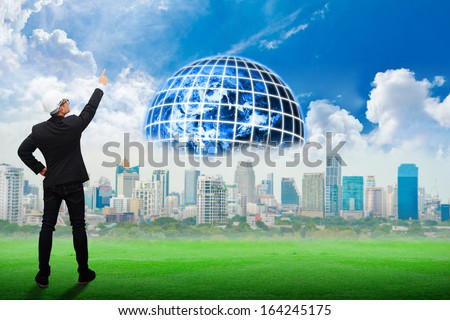 Engineering looking for the new world : Elements of this image furnished by NASA - stock photo