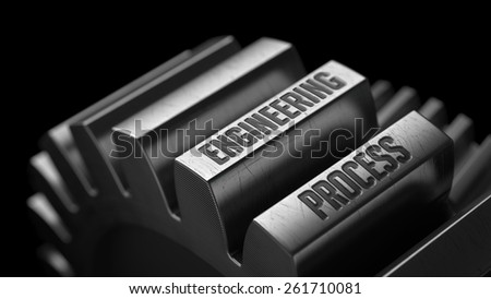 Engineering Process on the Metal Gears on Black Background.  - stock photo