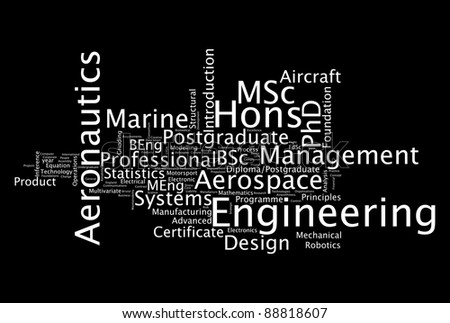 Engineering specialist professionals info-text graphics and arrangement concept on black background (word clouds)